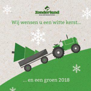 Kerstkaart van Zocon en Zonderland Machinehandel Joure; Greenkeppers, Weideslepen, Greencutters en nog veel meer